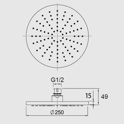 Norico Pentro 250mm Solid Brass Round Rainfall Shower Head Specification Drawing