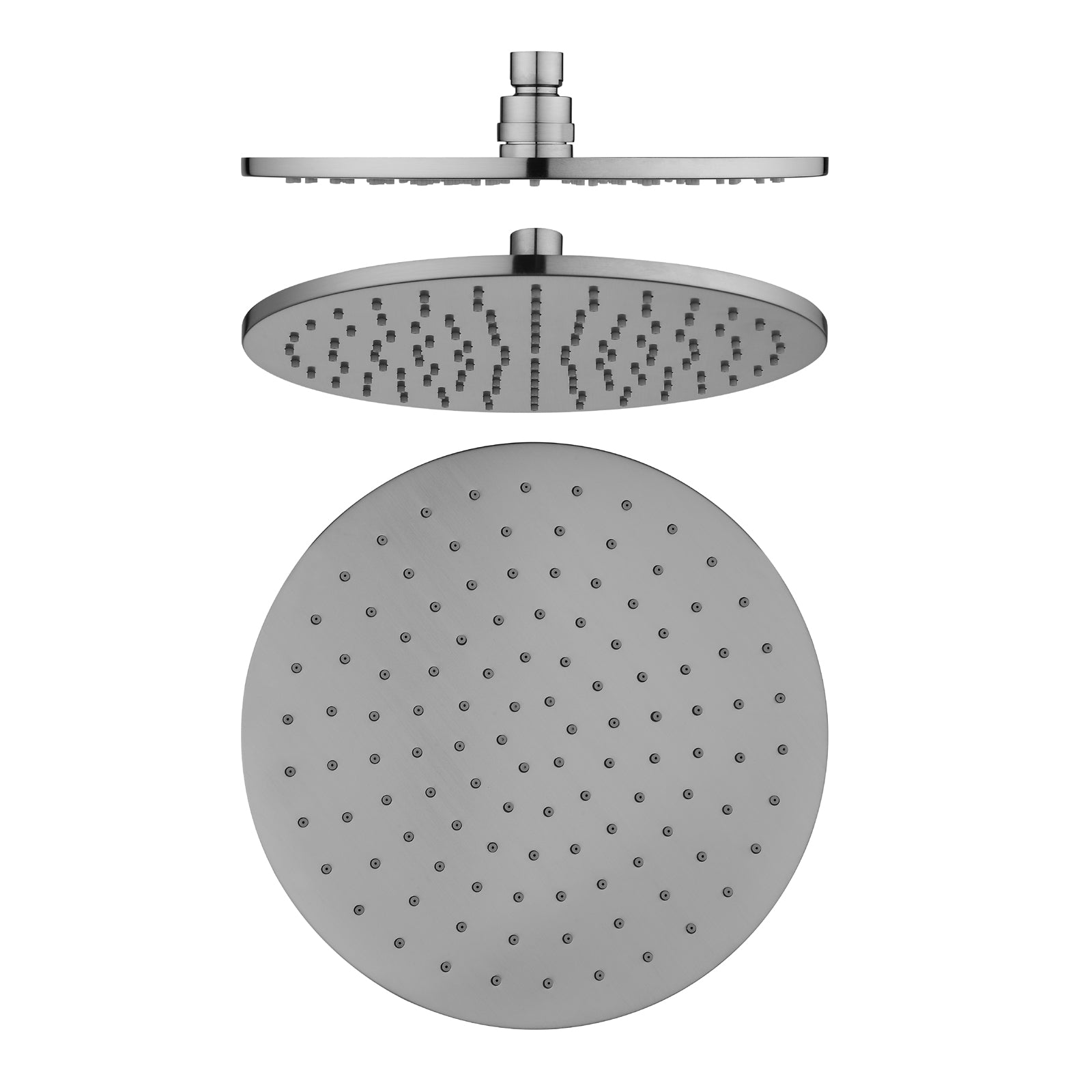 Norico Pentro 250mm Brushed Nickel Solid Brass Round Rainfall Shower Head
