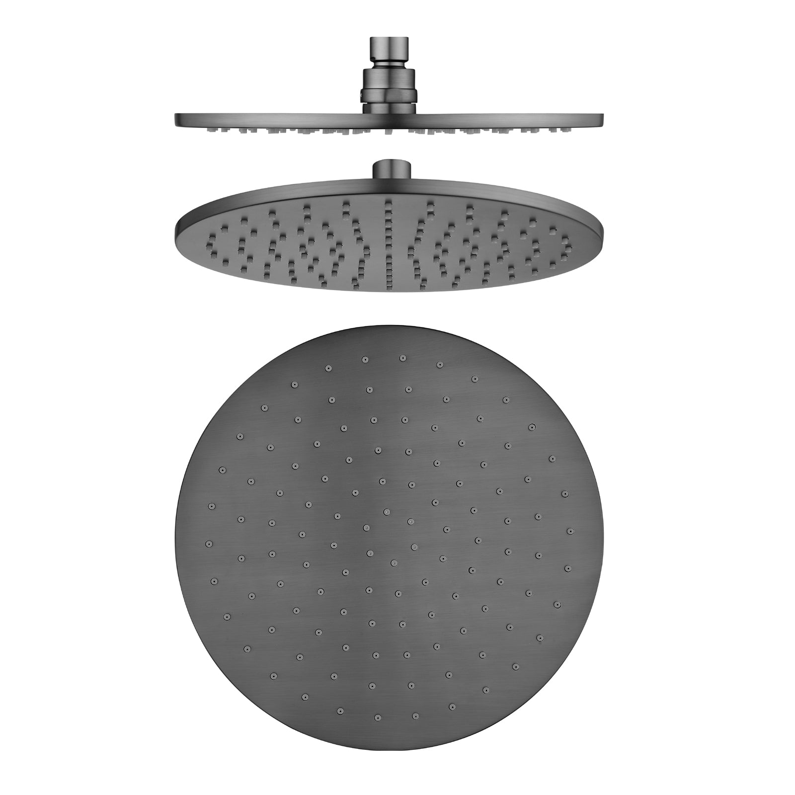 Pentro 250mm Gun Metal Grey Solid Brass Round Rainfall Shower Head