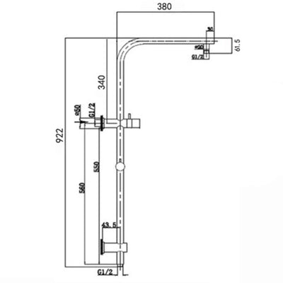 Norico Pentro 250mm Chrome Round Handheld Shower Station Specification Drawing