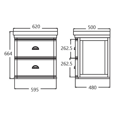 Stafford 620 X 500 Wall Mounted Basin & Vanity Specification Drawing