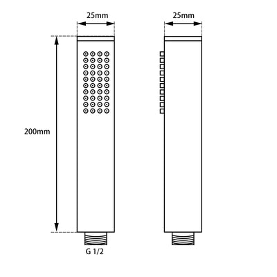 Norico Pentro 250mm Round Handheld Shower  Specification Drawing