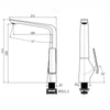Norico Esperia Tall Kitchen Mixer Specification Drawing