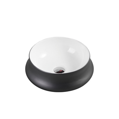 TRIER Round Counter Top Basin White and Gunmetal 410mm