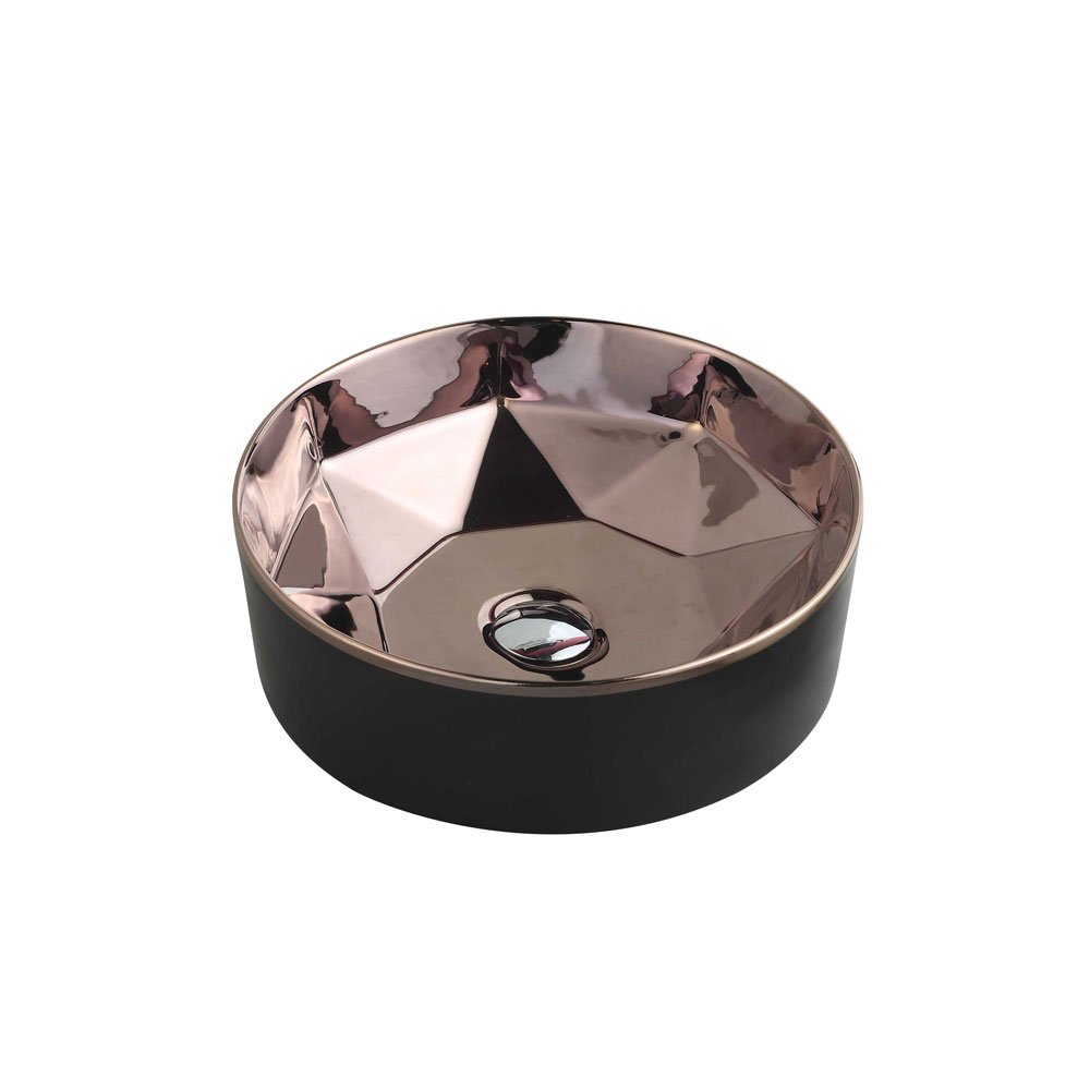 TRIER Round Counter Top Basin Black and Art Nickel 410mm