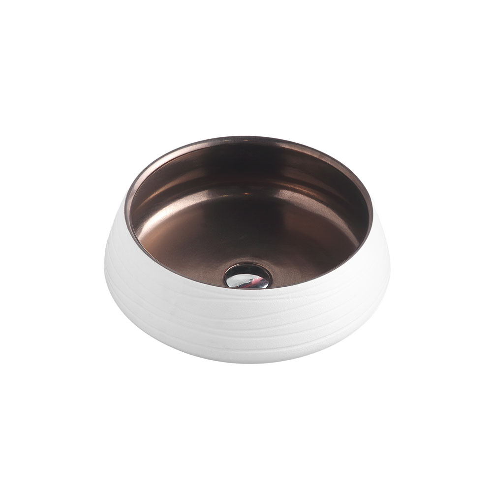 TRIER Round Counter Top Basin Art White 410mm