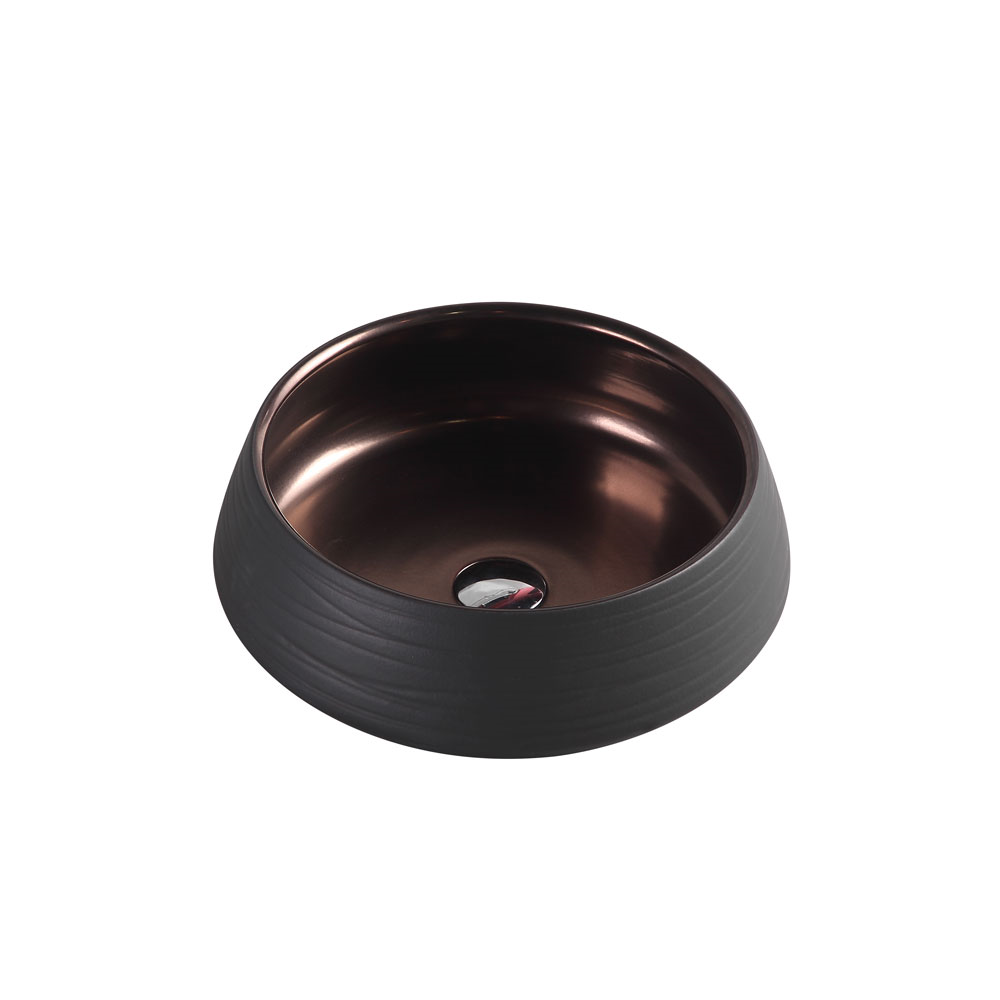 TRIER Round Counter Top Basin Art Black 410mm