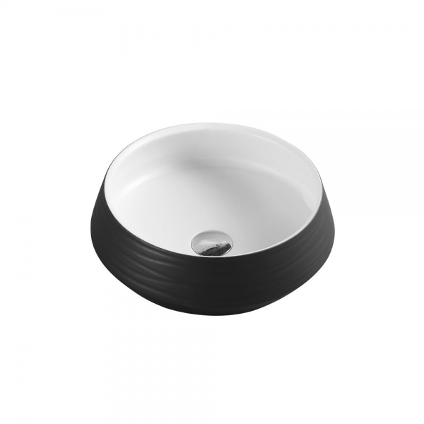TRIER Round Counter Top Basin White and Black 410mm
