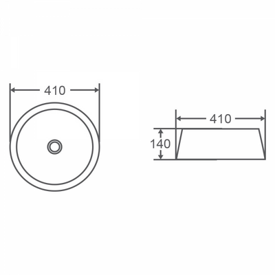 TRIER Round Counter Top Basin 410mm Specification Drawing