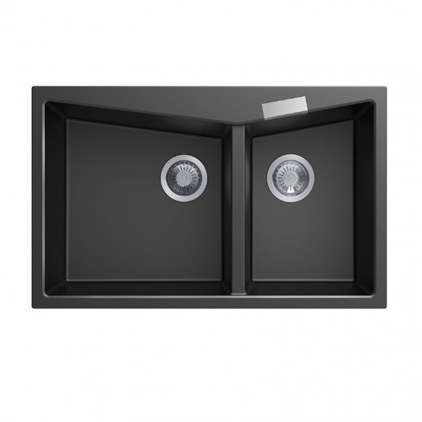 CARYSIL CGDB Black Granite Double Kitchen Sink 800x500mm