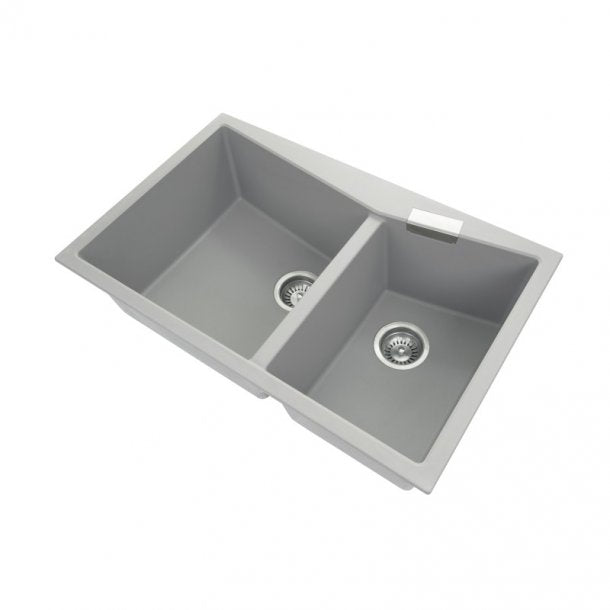 CARYSIL CGDB Grey Granite Double Kitchen Sink 800x500mm