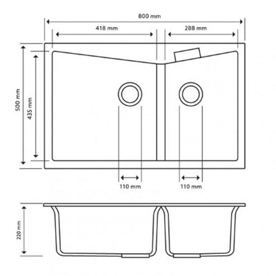 CARYSIL CGDB Grey Granite Double Kitchen Sink 800x500mm Specification Drawing