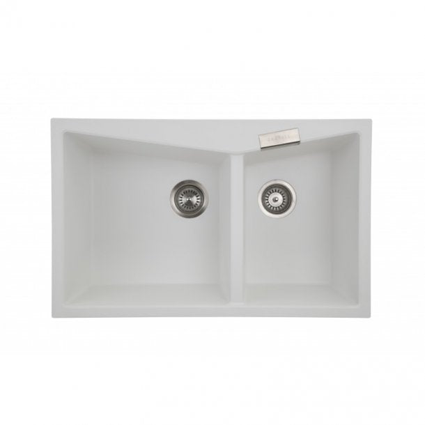 CARYSIL CGDB White Granite Double Kitchen Sink 800x500mm