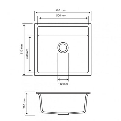 CARYSIL WALTZ Grey Granite Kitchen Sink 560x510mm Specification Drawing