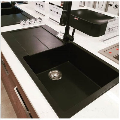 CARYSIL ENIGMA Black Granite Kitchen Sink with Drainboard 1000x500mm