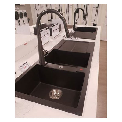 CARYSIL ENIGMA Black Granite Double Kitchen Sink with Drainboard 1160x500mm