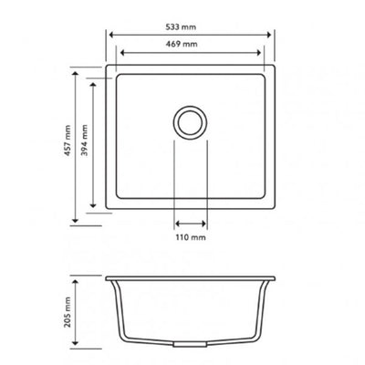 CARYSIL SALSA Black Granite Kitchen Sink 533x457mm Specification Drawing