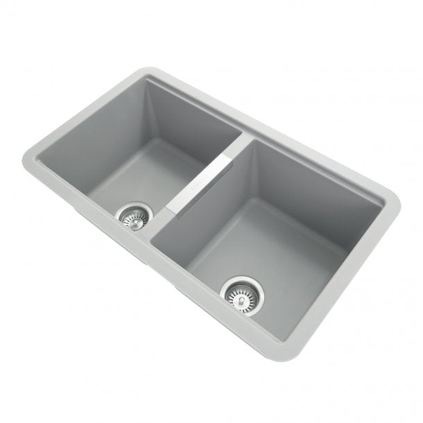 CARYSIL CGDB Grey Granite Double Under Mount Kitchen Sink 824x481mm