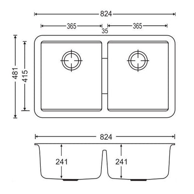 CARYSIL CGDB White Granite Double Under Mount Kitchen Sink 824x481mm Specification Drawing