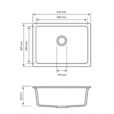 CARYSIL BIG BOWL Black Granite Kitchen Sink 610x457mm Specification Drawing