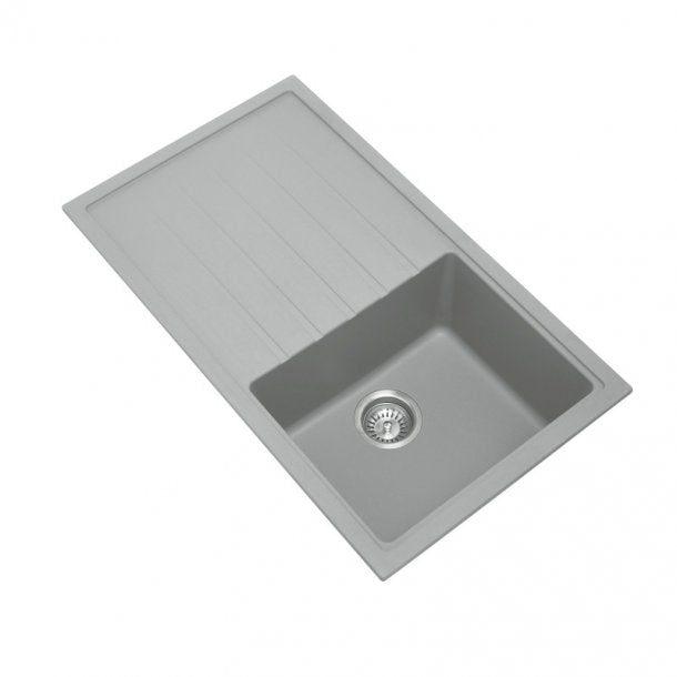 CARYSIL VIVALDI Grey Granite Kitchen Sink with Drainboard 860x500mm