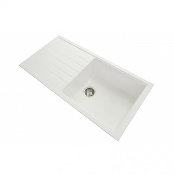 CARYSIL VIVALDI White Granite Kitchen Sink with Drainboard 1000x500mm