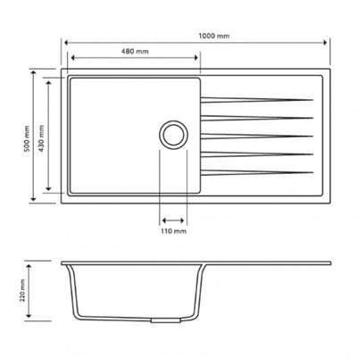 CARYSIL VIVALDI White Granite Kitchen Sink with Drainboard 1000x500mm Specification Drawing