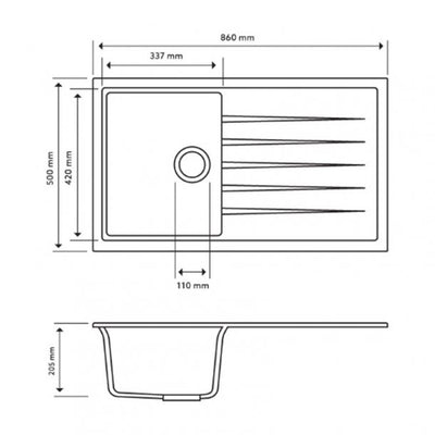 CARYSIL VIVALDI Black Granite Kitchen Sink with Drainboard 860x500mm Specification Drawing