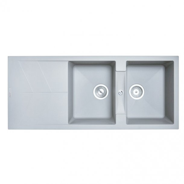 CARYSIL JAZZ Grey Granite Double Kitchen Sink with Drainboard 1160x500mm