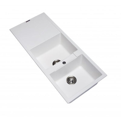 CARYSIL JAZZ White Granite Double Kitchen Sink with Drainboard 1160x500mm