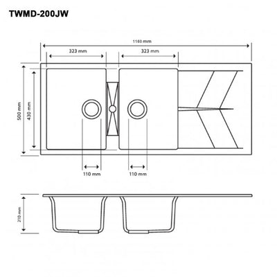 CARYSIL JAZZ White Granite Double Kitchen Sink with Drainboard 1160x500mm Specification Drawing