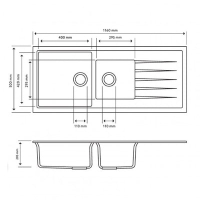 CARYSIL VIVALDI Black Granite Single and 1/2 Kitchen Sink with Drainboard 1160x500mm Specification Drawing