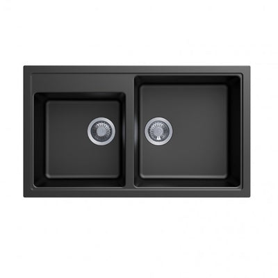 CARYSIL VIVALDI Black Granite Double Kitchen Sink 860x500mm
