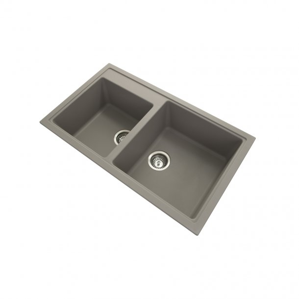 CARYSIL VIVALDI Grey Granite Double Kitchen Sink 860x500mm