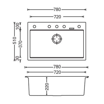 CARYSIL WALTZ White Granite Kitchen Sink 780x510mm Specification Drawing