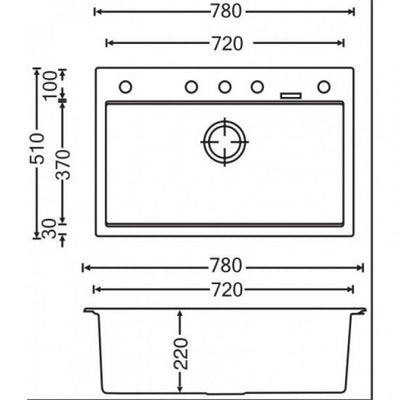 CARYSIL WALTZ Black Granite Kitchen Sink 780x510mm Specification Drawing