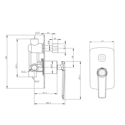 Norico Esperia Wall Mixer with Diverter Specification Drawing