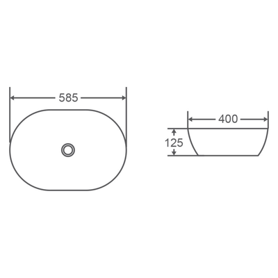 VALE Oval Counter Top Basin 585x400mm Specification Drawing