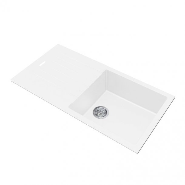 ARETE White Granite Quartz Stone Kitchen Sink with Drainboard 1000x500mm