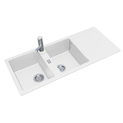 ARETE White Granite Quartz Stone Double Kitchen Sink with Drainboard 1160x500mm