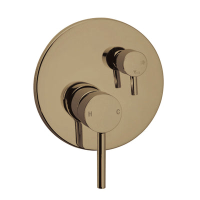 Norico Pentro Brushed Yellow Gold Round Wall Mixer Tap with Diverter