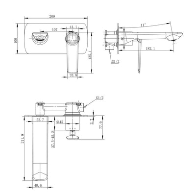Norico Esperia Wall Mixer With Spout Specification Drawing