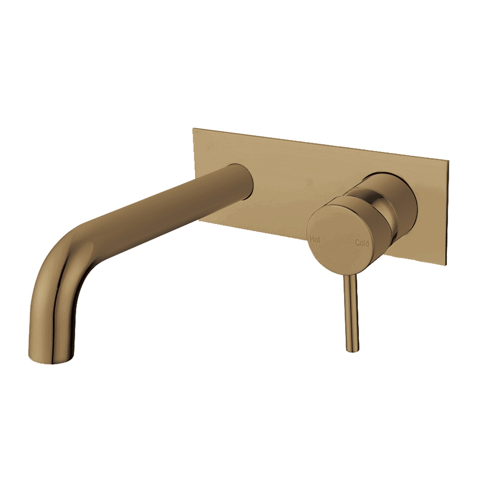 Pentro Brushed Yellow Gold Wall Mixer With Round Spout