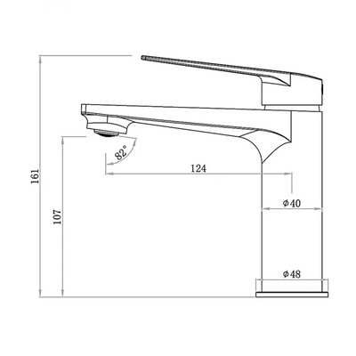 Inspire Bathware ZEVIO Basin Mixer Specification Drawing