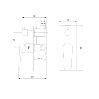 Inspire Bathware ZEVIO Shower/Wall Mixer with Diverter Specification Drawing