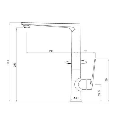 Inspire Bathware ZEVIO Kitchen Sink Mixer Specification Drawing