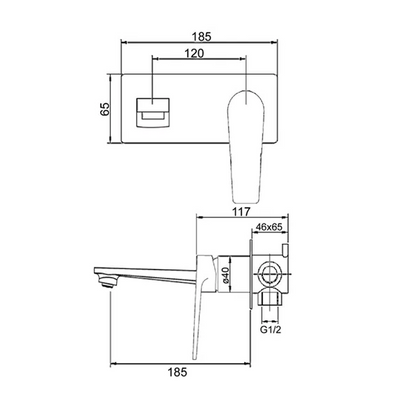 Inspire Bathware ZEVIO Bath/Basin Mixer Specification Drawing