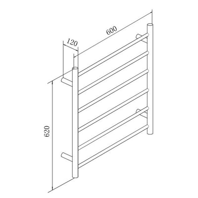 6 Bar Round Heated Towel Rail Black Specification Drawing