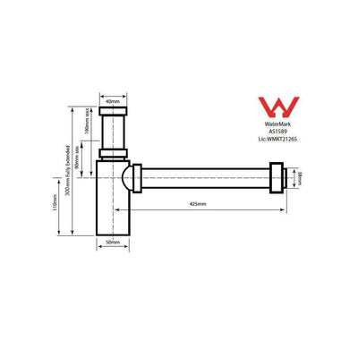 Aurora Adjustable Bottle P Trap Specification Drawing