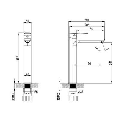 HALE Tall Basin Mixer Specification Drawing